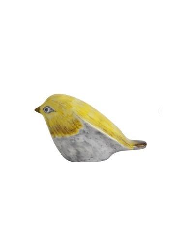 Warm Design El Boyaması Seramik Dekoratif Kuş  Renkli